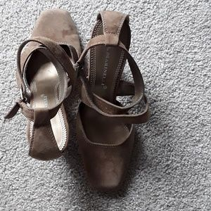 A. Marinelli coffee-colored suede heels
